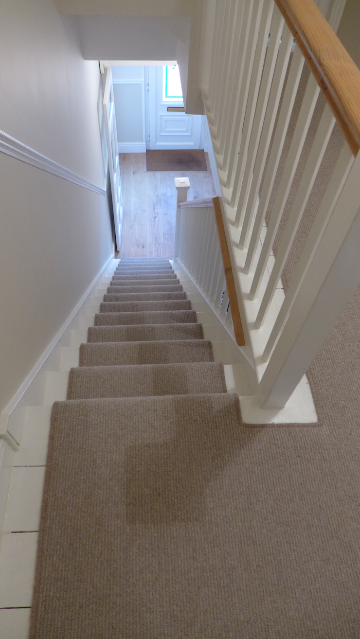 Plain stair carpet runner Style Within Modern corridor, hallway & stairs