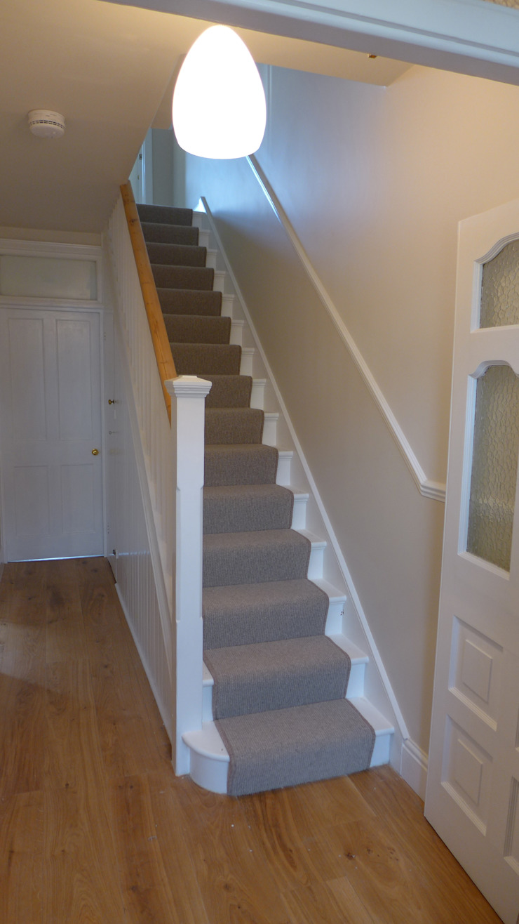 Contemporary plain stair carpet runner Style Within Modern corridor, hallway & stairs