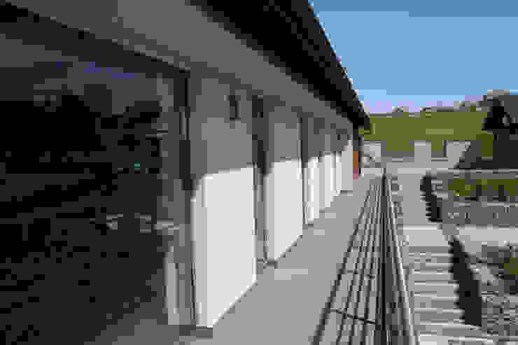 Dom na skarpie nad stawem. Nowoczesny balkon, taras i weranda od Susuł & Strama Architekci sp. z o.o. Nowoczesny