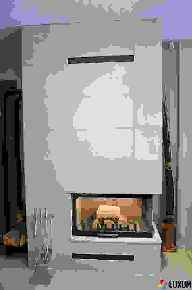 Architectural concrete slabs as a housing of the fireplace Minimalistyczny salon od Luxum Minimalistyczny