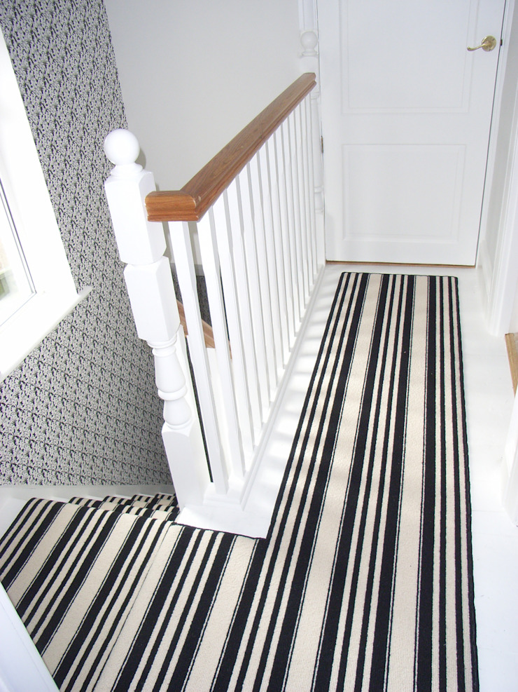 black and white striped landing carpet Style Within Classic style corridor, hallway and stairs