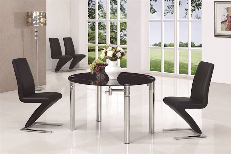 JAVA ROUND Black EXT. GLASS TABLE di Furniture Italia Moderno