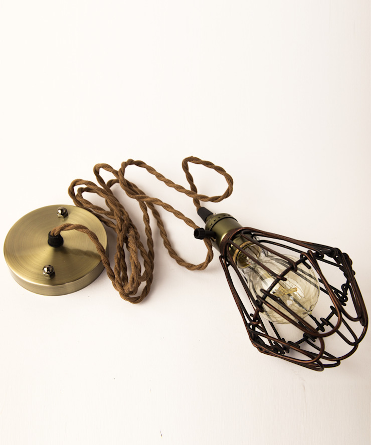 Vintage Pendant Cage - Pear Filament Light Bulb William and Watson 家居用品配件與裝飾品