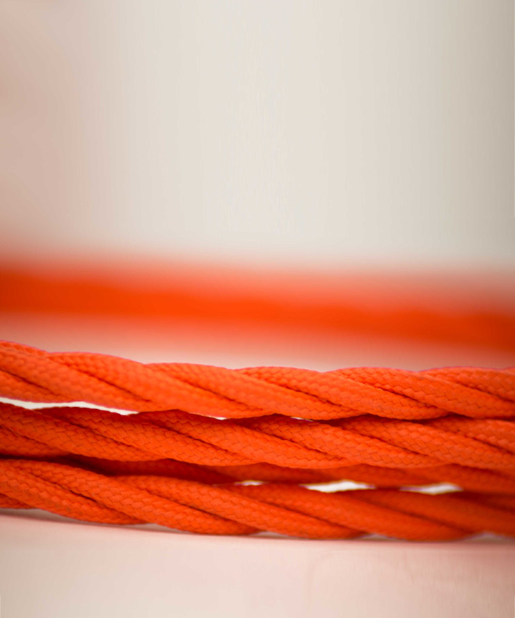 Fabric lighting cable Twisted - Orange William and Watson HouseholdAccessories & decoration