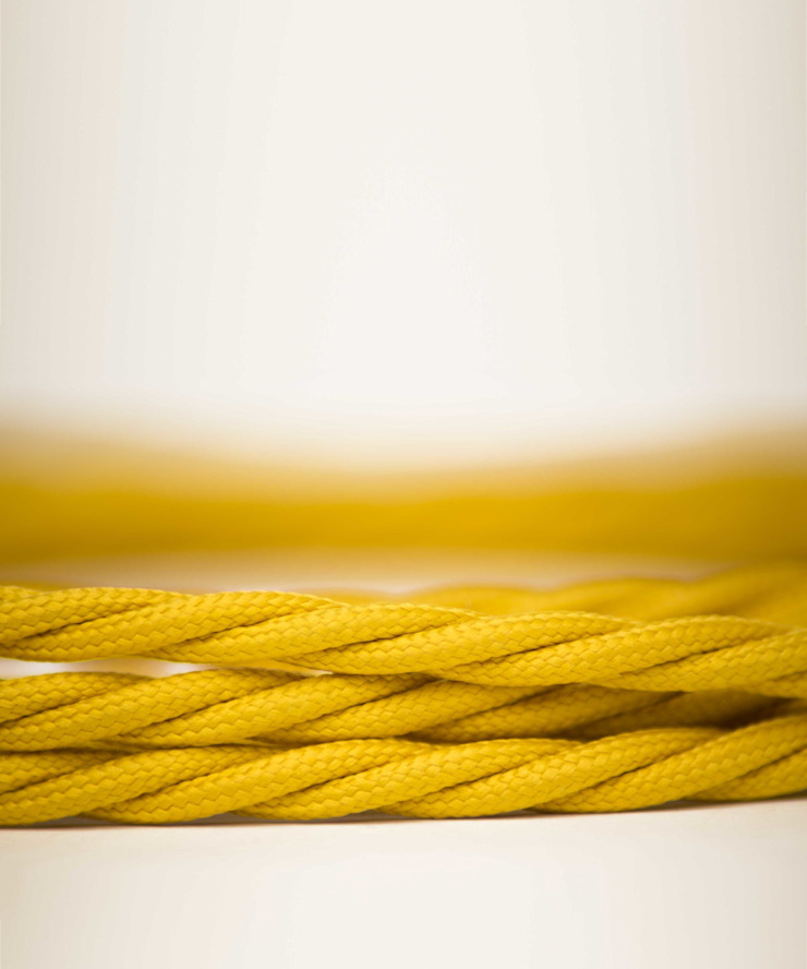 Fabric lighting cable Twisted - Yellow William and Watson HouseholdAccessories & decoration