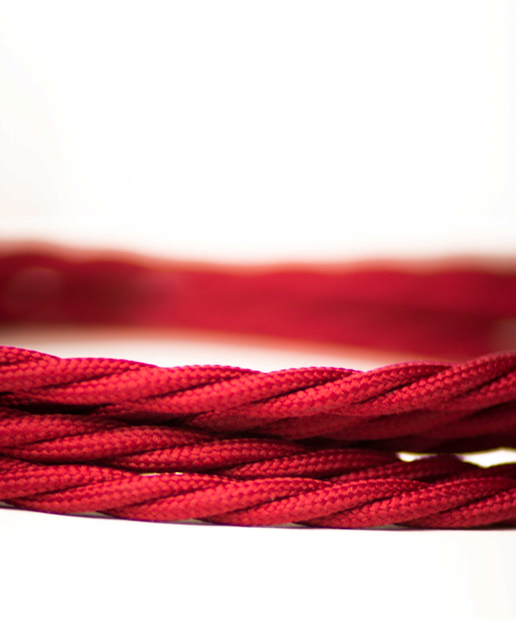Fabric lighting cable Twisted - Red Burgundy William and Watson HouseholdAccessories & decoration