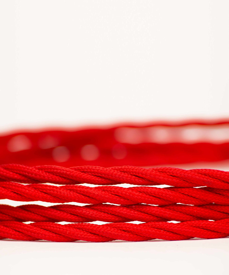 Fabric lighting cable Twisted - Red William and Watson HouseholdAccessories & decoration