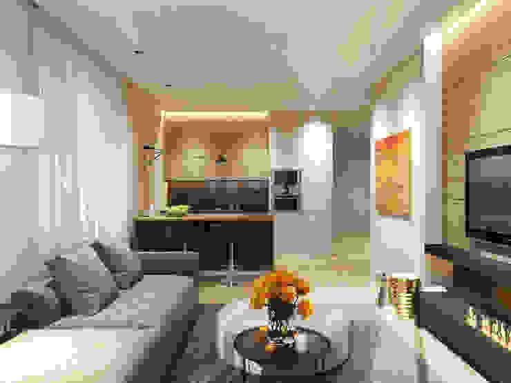 """Квартира в ЖК """"Чемпион парк"""" Гостиная в стиле минимализм от Y.F.architects Минимализм"""