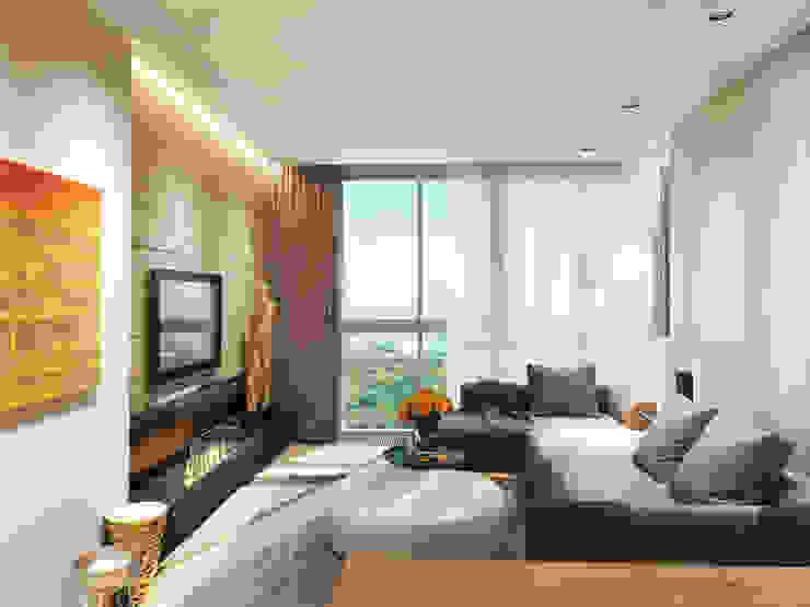 Квартира в ЖК <q>Чемпион парк</q> Гостиная в стиле минимализм от Y.F.architects Минимализм