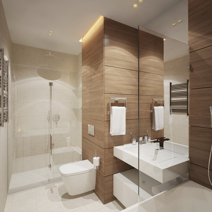 Квартира в ЖК <q>Чемпион парк</q> Ванная комната в стиле минимализм от Y.F.architects Минимализм