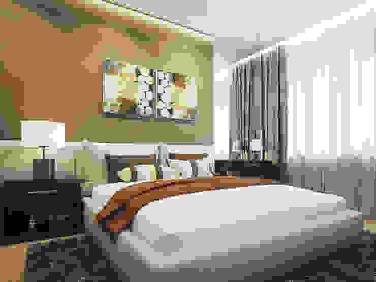 Квартира в ЖК <q>Чемпион парк</q> Спальня в стиле минимализм от Y.F.architects Минимализм