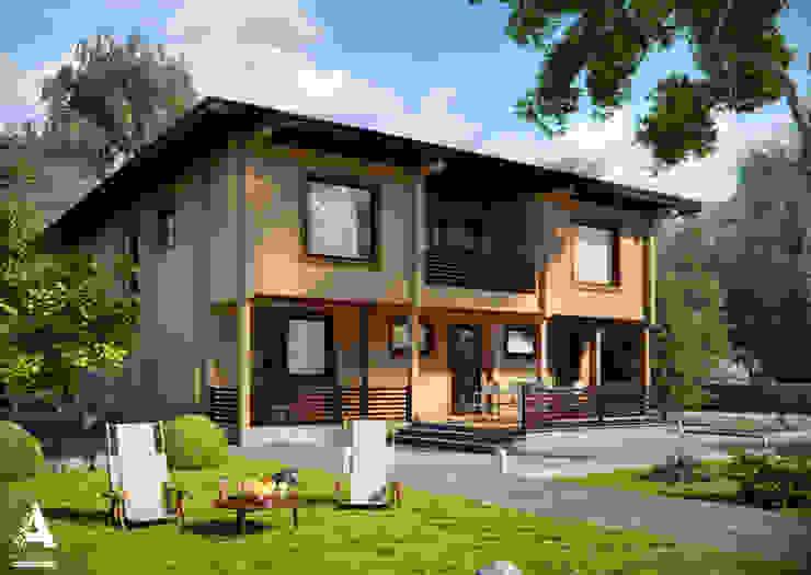 Благоустройство и ландшафтный дизайн на визуализациях частных домов Сад в стиле модерн от Аrchirost Модерн