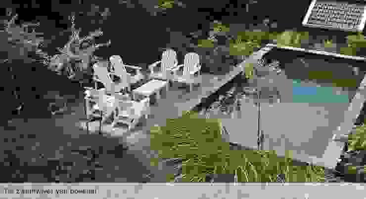 Zwemvijver met terras:  Tuin door Groene Kikker Tuinontwerp, Modern