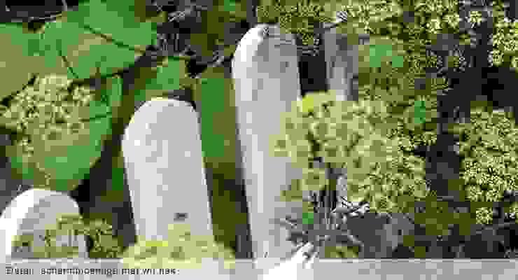 Sfeerbeeld: schermbloemige met wit hek Moderne tuinen van Groene Kikker Tuinontwerp Modern