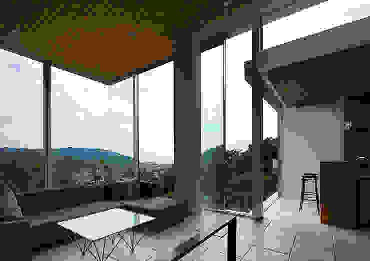 段床の家/葉山K邸 (Dansho -no IE ) モダンデザインの リビング の Archiplus Architectural Design Office / ㈱アーキプラス一級建築士事務所 モダン ガラス
