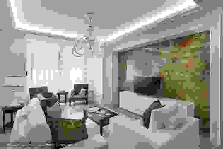 «Белоснежная Москва» – квартира на Красной Пресне – 131,3 м² Гостиная в классическом стиле от Ольга Кулекина - New Interior Классический