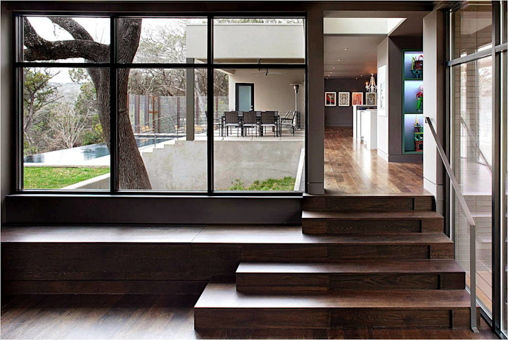 West Lake Hills Residence Specht Architects Modern Corridor, Hallway and Staircase