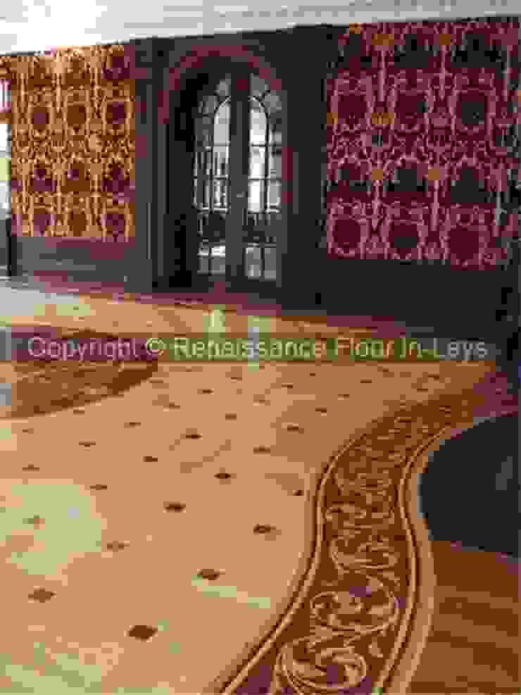 Parkiet z rozetą intarsjowaną Klasyczny salon od Renesans Floor In-lays Klasyczny