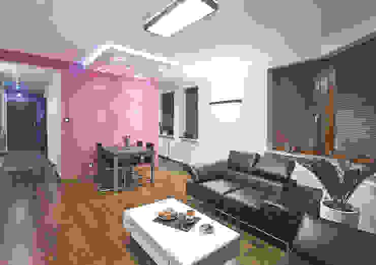 Apartament na Ursynowie: styl , w kategorii Salon zaprojektowany przez Ładne Wnętrze,Nowoczesny