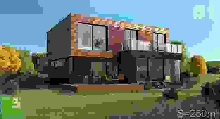 Готовые дома: Дома в . Автор – ALEXANDER ZHIDKOV ARCHITECT, Скандинавский Дерево Эффект древесины