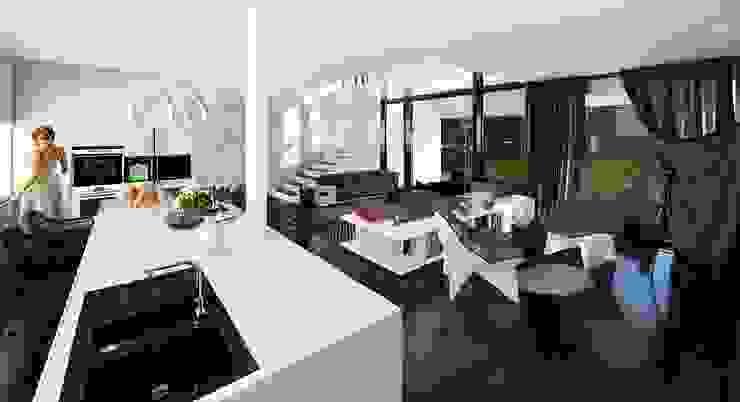 Готовые дома: Гостиная в . Автор – ALEXANDER ZHIDKOV ARCHITECT,