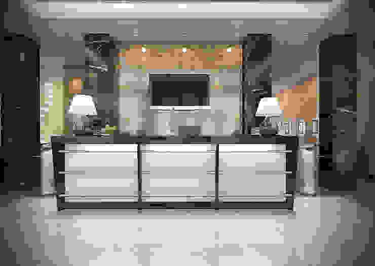 Зона ресепшен Офисные помещения в стиле минимализм от Дизайн-студия 'Эскиз' Минимализм