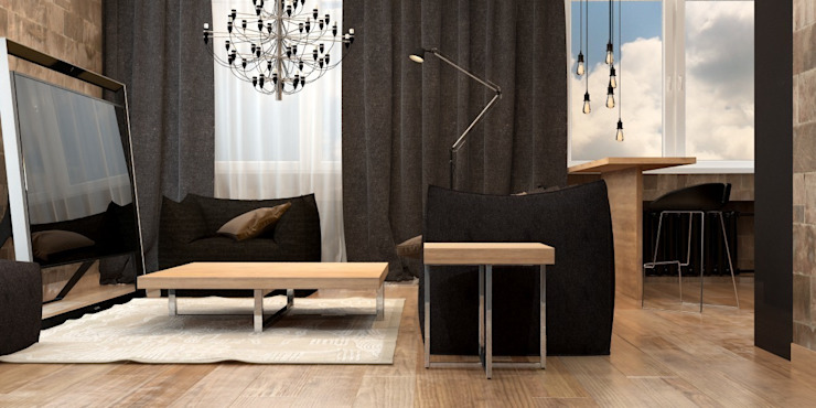 Двухкомнатная квартира для молодой девушки Гостиная в стиле модерн от Smirnova Luba Модерн