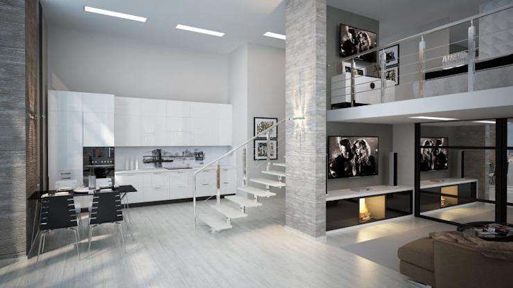 Двух уровненная квартира студия Гостиная в стиле минимализм от дизайн-бюро ARTTUNDRA Минимализм