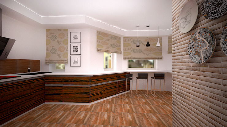 Коттедж в п. Грибки Кухня в стиле минимализм от дизайн-бюро ARTTUNDRA Минимализм