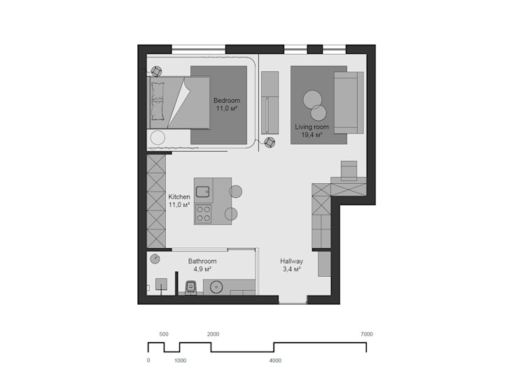 План квартиры от Kristina Petraitis Design House Лофт