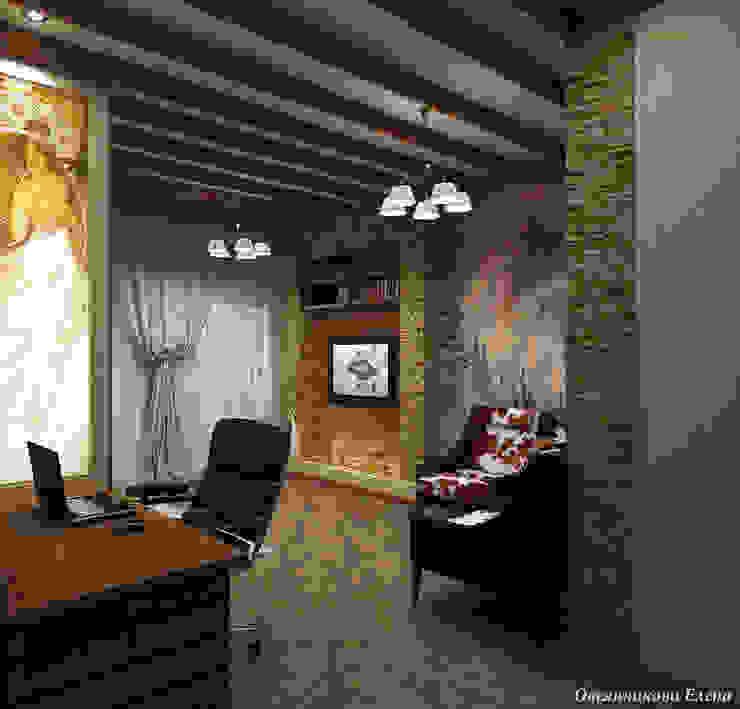 Комната в стиле шале Рабочий кабинет в рустикальном стиле от Елена Овсянникова Рустикальный
