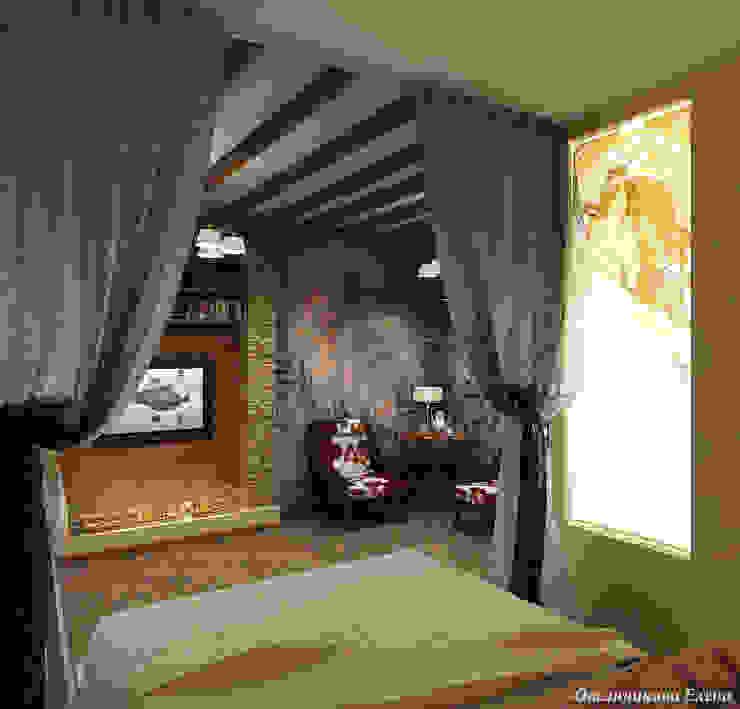 Комната в стиле шале Спальня в рустикальном стиле от Елена Овсянникова Рустикальный