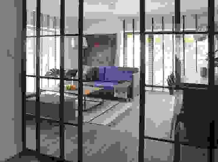 Proste, minimalistyczne, biało czarne mieszkanie Nowoczesny salon od MG Interior Studio Michał Głuszak Nowoczesny