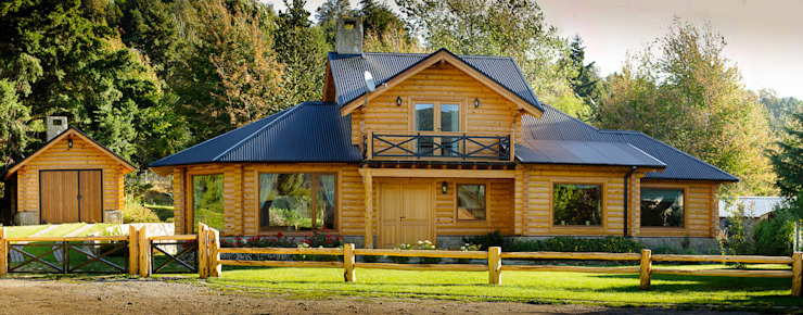 โดย Patagonia Log Homes - Arquitectos - Neuquén คันทรี่ ไม้ Wood effect