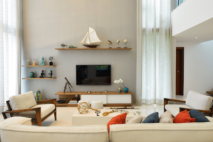 Pinheiro Martinez Arquitetura 现代客厅設計點子、靈感 & 圖片 White