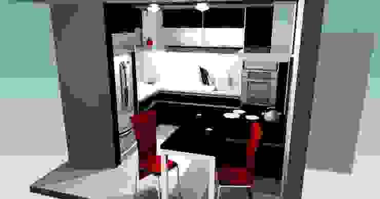 Nhà bếp phong cách tối giản bởi pb Arquitecto Tối giản Gỗ-nhựa composite