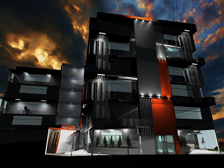 Propuesta de Diseño y modelado 3D diurno y nocturno edificio residencial. Casas modernas de pb Arquitecto Moderno