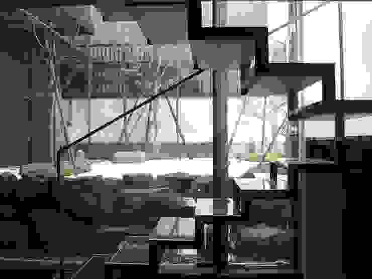 現代風玄關、走廊與階梯 根據 suz-sas 現代風 鐵/鋼