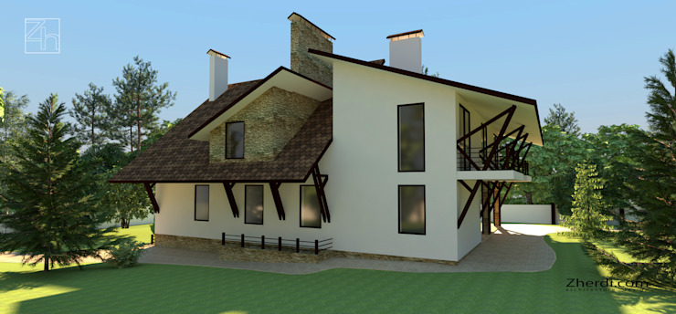 Архитектурный проект частного дома в стиле фахверк (half-timbered) Дома в скандинавском стиле от Студия дизайна и архитектуры Zherdi Скандинавский