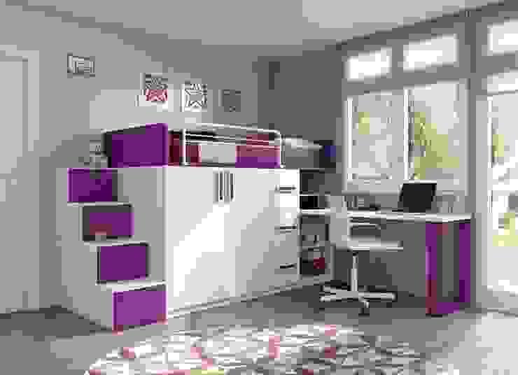Cama tren con escritorio y escalera Dormitorios infantiles modernos: de homify Moderno Compuestos de madera y plástico