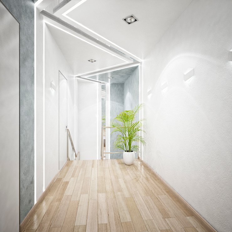 Двухэтажная квартира в современном стиле для молодой семьи Коридор, прихожая и лестница в стиле минимализм от Студия архитектуры и дизайна ДИАЛ Минимализм