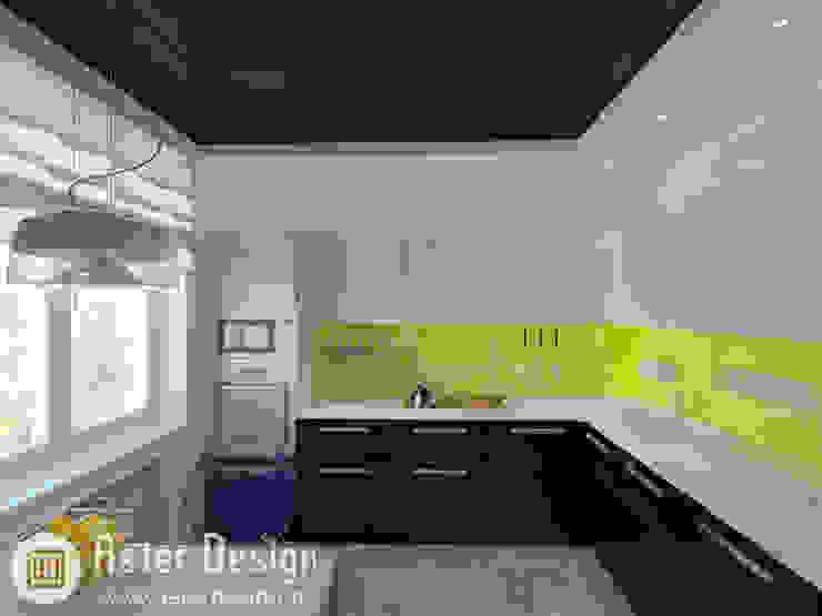 Современная квартира ASTER DECO Кухня в стиле минимализм Желтый