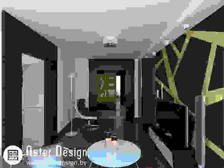 Современная квартира ASTER DECO Гостиная в стиле минимализм Черный