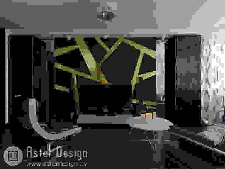 Современная квартира ASTER DECO Гостиные в эклектичном стиле Черный