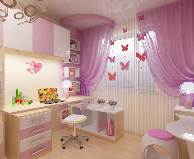Детская для девочки: Детские комнаты в . Автор – ПРОЕКТНАЯ СТУДИЯ Ирины Щуровой ДОМ,