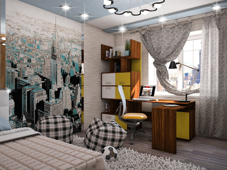 Dormitorios infantiles de estilo ecléctico de ПРОЕКТНАЯ СТУДИЯ Ирины Щуровой ДОМ Ecléctico
