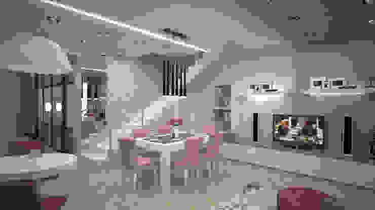 Нежное Aр-деко. Кухня-гостиная в таунхаусе. Гостиная в стиле модерн от дизайн-бюро ARTTUNDRA Модерн