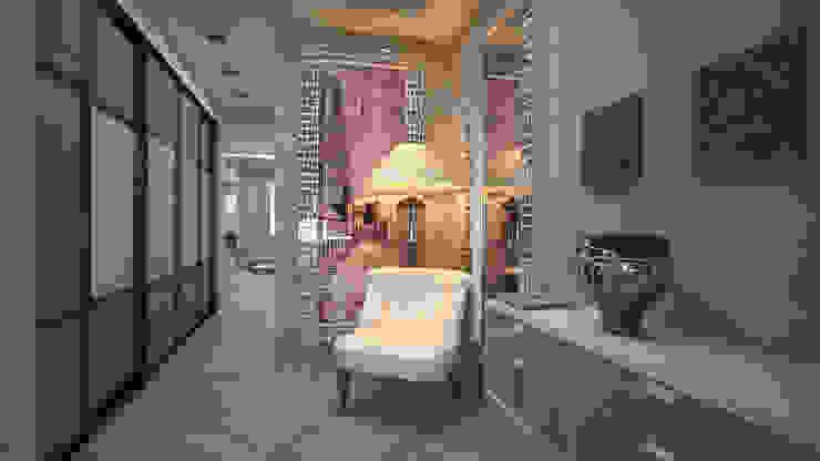 Нежное Aр-деко. Кухня-гостиная в таунхаусе. Коридор, прихожая и лестница в модерн стиле от дизайн-бюро ARTTUNDRA Модерн