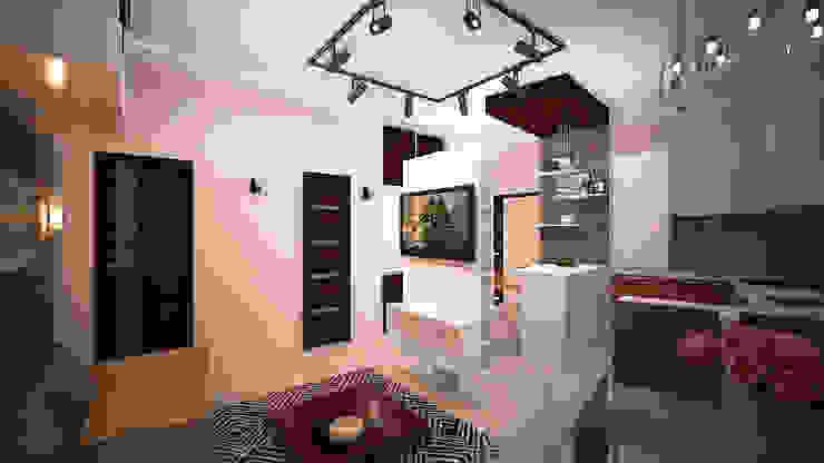 Сумасшедшая перепланировка из офиса в квартиру Гостиная в стиле минимализм от дизайн-бюро ARTTUNDRA Минимализм