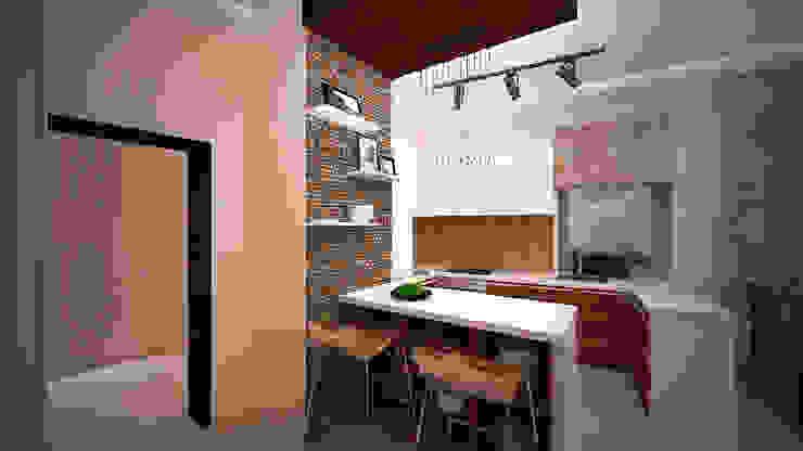 Сумасшедшая перепланировка из офиса в квартиру Кухня в стиле минимализм от дизайн-бюро ARTTUNDRA Минимализм